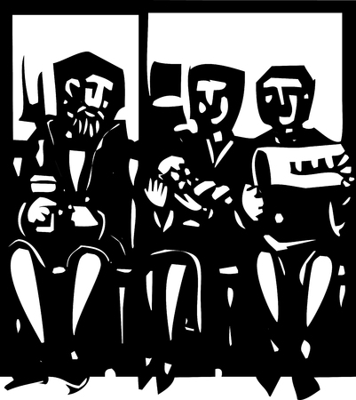 medicaid: Woodcut style expressionist image of people waiting in a doctors waiting room
