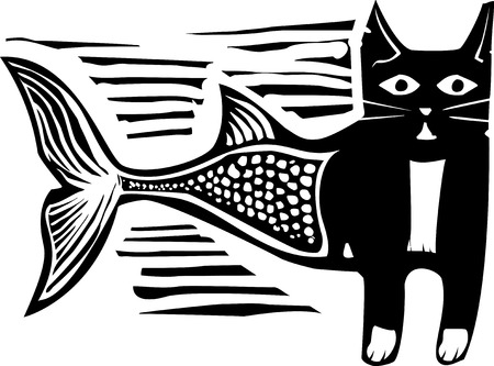 catfish: Woodcut style image of a catfish mermaid