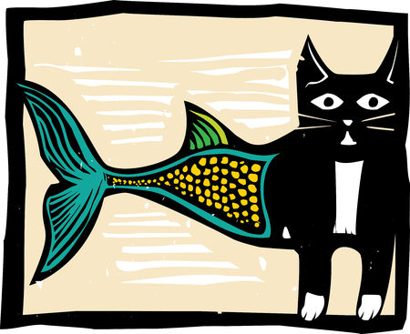 cat fish: Woodcut style image of a catfish mermaid