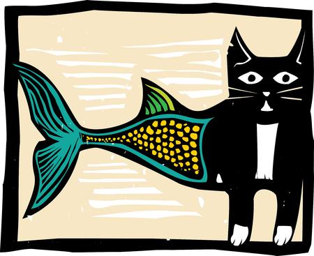 woodcut: Woodcut style image of a catfish mermaid