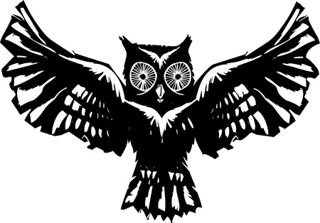 feathered: Woodcut flying owl with feathered wings spread.