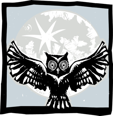 Woodcut flying owl with feathered wings spread in front of a full moon. Çizim