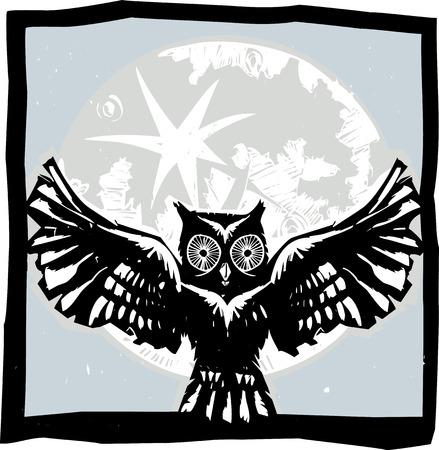 Woodcut vliegende uil met gevederde vleugels spreiden in de voorkant van een volle maan.
