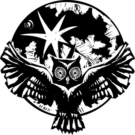 feathered: Woodcut flying owl with feathered wings spread in front of a full moon. Illustration