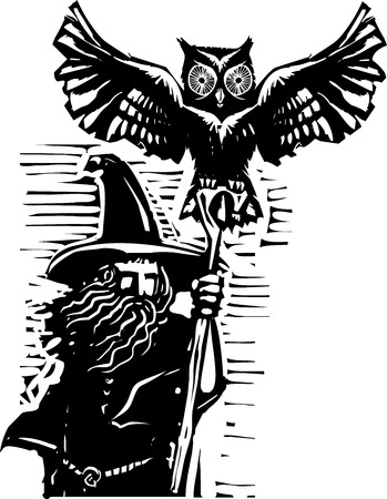 druid: woodcut style image of a wizard holding a staff and an owl familiar.