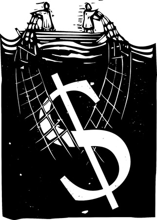 Woodcut style expressionist image of two people in a boat hauling a dollar sign out of the water