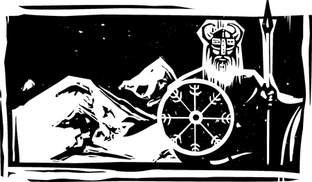 Woodcut style viking with shield guarding snowy Asgard