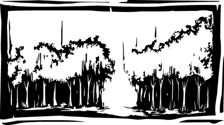 Woodcut style forest with a path in through the grove