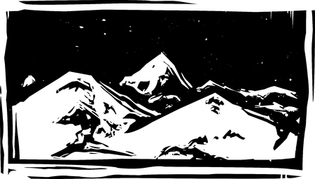 Woodcut style mountain range with snowy peaks