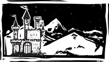Woodcut style image of a fairy tale castle in snowy mountains.