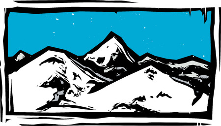 Woodcut style mountain range on a clear blue day