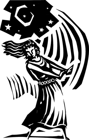 Woodcut style image of the a woman dancing below the moon.