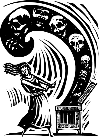 myth: Woodcut style expressionist image of the Greek Myth of Pandora opening the box of the worlds ills