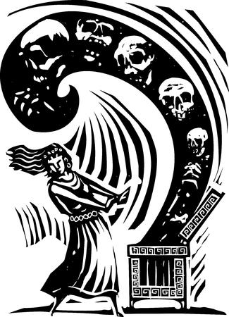 mythology: Woodcut style expressionist image of the Greek Myth of Pandora opening the box of the worlds ills