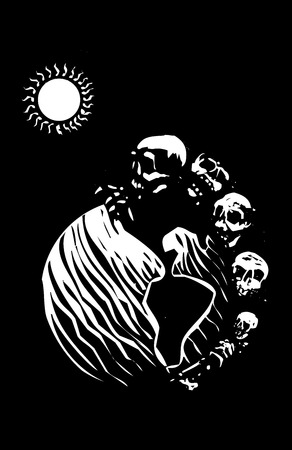 Woodcut style image of a batch of skulls and skeletons covering a globe of the earth in space.
