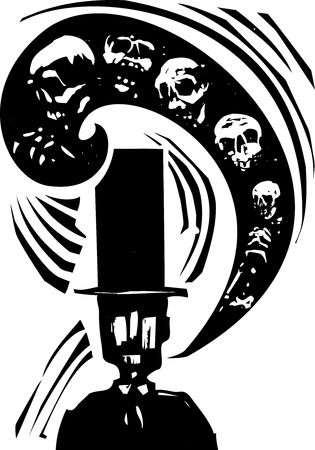 had: Woodcut style image of man in a top had with a word balloon full of skeletons and skulls