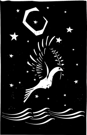 returning: Woodcut style image of the biblical dove returning with an olive branch to Noah