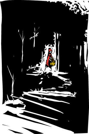Woodcut style expressionist image of red riding hood in the dark forest