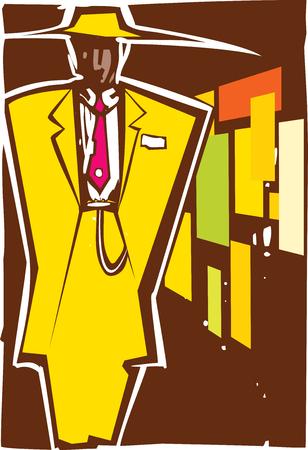 주트 수트에서 남자의 목 판화 스타일 이미지입니다.