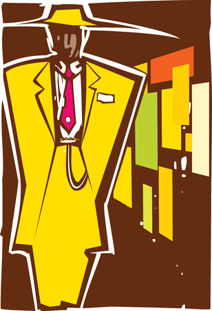 Woodcut style image of a man in zoot suit. Illustration