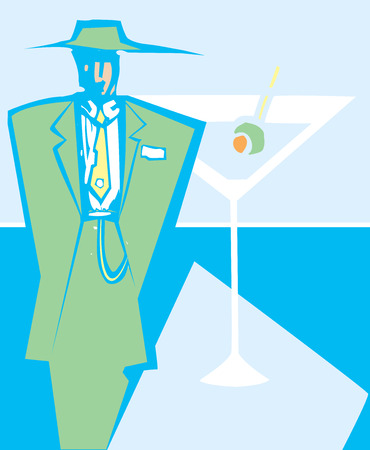 syndicate: Woodcut style image of a man in zoot suit next to a martini