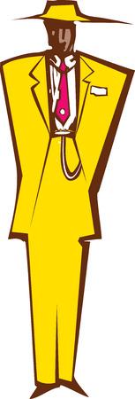 Woodcut style image of a man in zoot suit. Ilustração