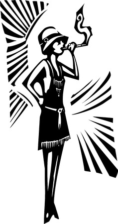syndicate: Woodcut syle image of a woman in a flapper dress smoking Illustration