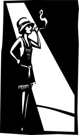 syndicate: Woodcut syle image of a woman in a flapper dress under a streetlight smoking