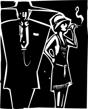 syndicate: Woodcut syle image of a woman in a flapper dress smoking and a man in a Zoot Suit Illustration