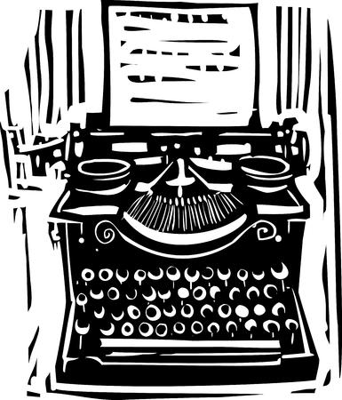 type writer: Woodcut style image of a manual typewriter