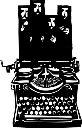 journalism: Woodcut style image of a manual typewriter with woman wearing Islamic hijabs emerging from it.