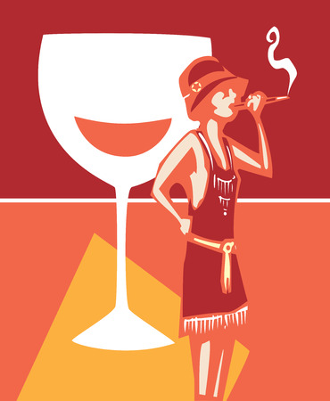 syndicate: Woodcut syle image of a woman in a flapper dress smoking and a wine glass Illustration