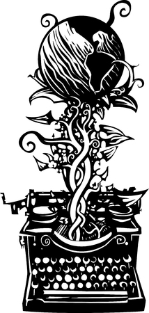 Woodcut style image of a manual typewriter with a globe of the earth beanstalk growing out of it