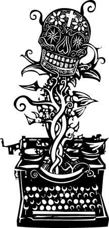 type writer: Woodcut style image of a manual typewriter with a skull growing out of it Illustration