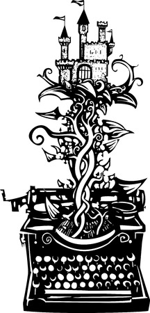 Woodcut style image of a manual typewriter with a castle on a beanstalk growing out of it