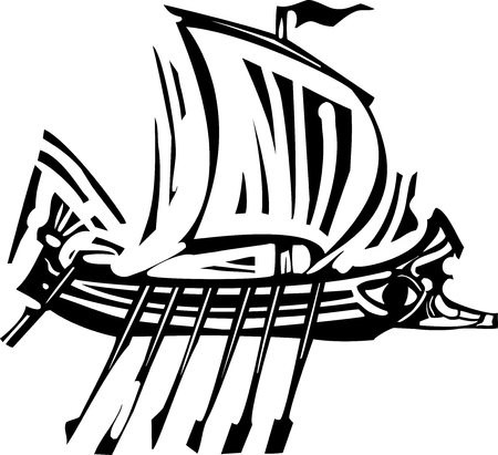 Woodcut style ancient Greek Galley with oars and sail.
