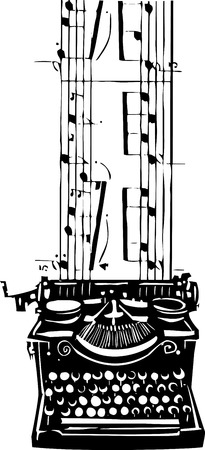 writes: Woodcut style image of a manual typewriter with music flowing out of it.