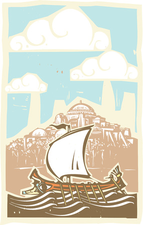 Woodcut style ancient Greek Galley with oars and sail at sea by the Hagia Sophia in Constantinople