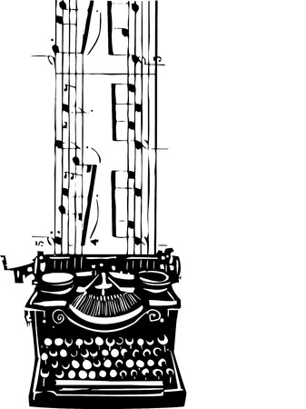 Woodcut style image of a manual typewriter with music flowing out of it.