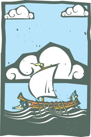 Le style Woodcut grec ancien Galley avec rames et voile en mer avec le ciel et les nuages. Banque d'images - 52138049