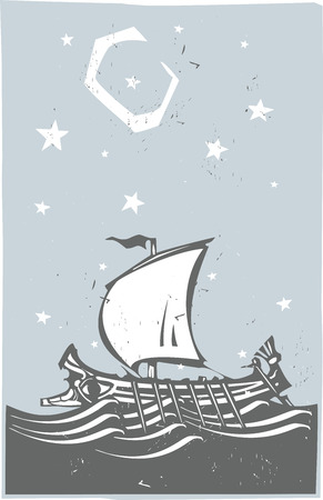 galley: Woodcut style ancient Greek Galley with oars and sail at sea with stars and moon