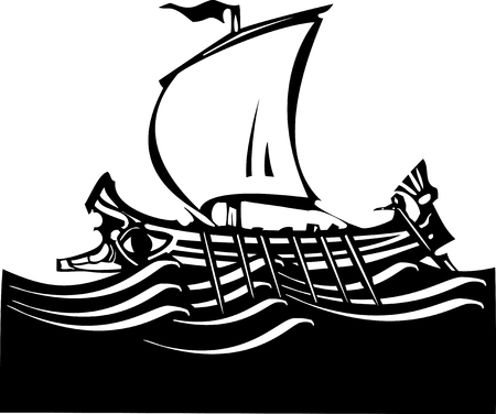 Woodcut style ancient Greek Galley with oars and sail at sea.