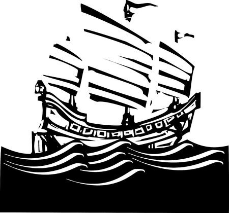 junk boat: Woodcut style image of chinese junk sailing on the ocean