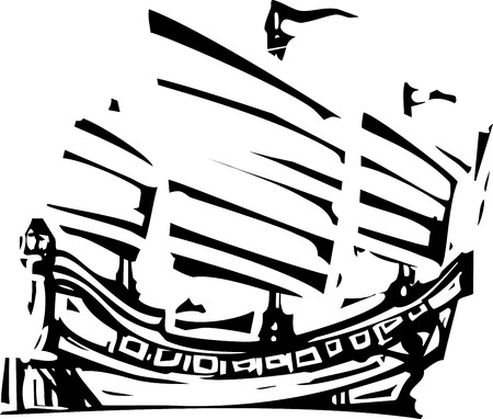 Woodcut style image of chinese sailing ship junk
