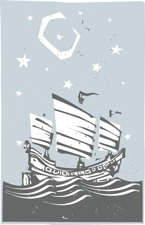Woodcut style image of chinese junk sailing at night Illusztráció
