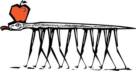 사과와 함께 걷고 다리를 가진 뱀의 목 판화 이미지입니다.
