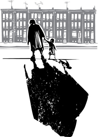 homelessness: Woodcut style expressionist image of an elderly woman walking in hand with a child in front of row homes