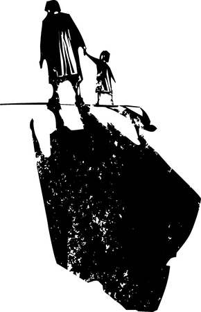 Woodcut style expressionist image of an elderly woman walking in hand with a child. Illustration