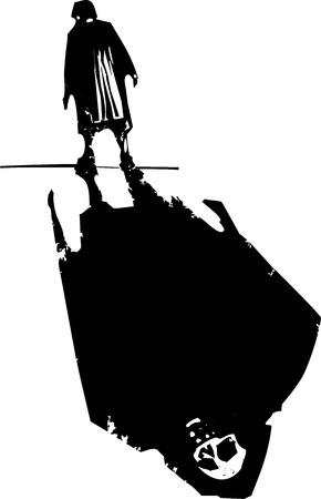 expresionista imagen de estilo de grabado de una anciana caminando con la muerte sombra.