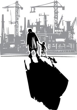 공장에 자녀와 함께 손에 산책하는 노인 여성의 목 판화 스타일 표현주의 이미지 스톡 콘텐츠 - 52571168